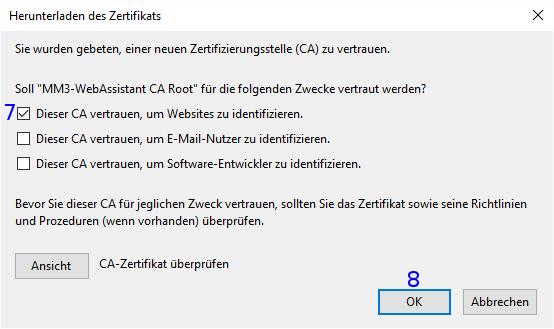 Firefox: Herunterladen des Zertifikats