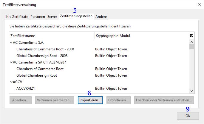 Firefox: Zertifikateverwaltung