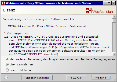 MM3-WebAssistant - Proxy Offline Browser: Lizenzvereinbarung