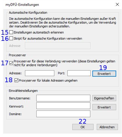 Internet Explorer: DFÜ Einstellungen
