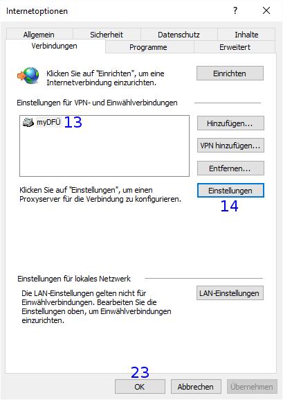 Internet Explorer: Internetoptionen / Verbindungen / DFÜ