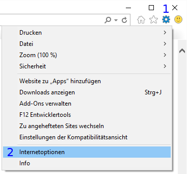 Internet Explorer: Extras / Internetoptionen