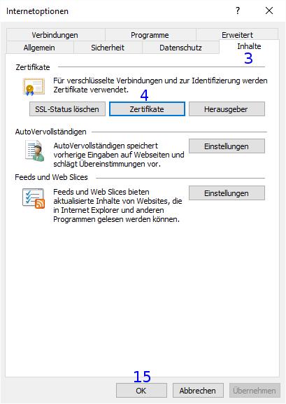 Internet Explorer: Internetoptionen / Inhalte / Zertifikate