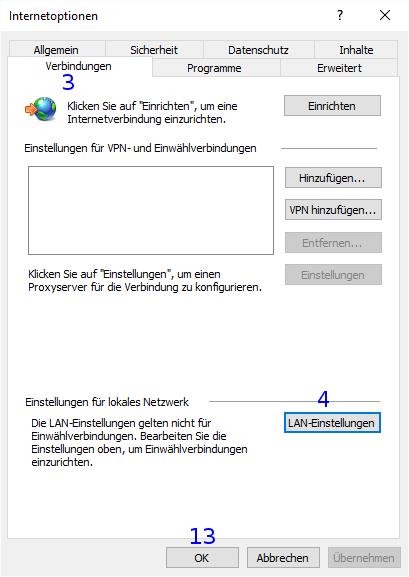 Internet Explorer: Internetoptionen / Verbindungen / Netzwerk