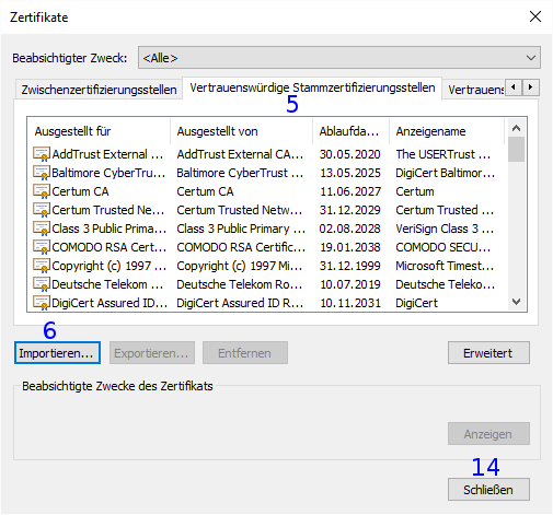 Internet Explorer: Zertifikate