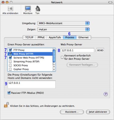 Mac OS X: Netzwerk / myLan / Proxies