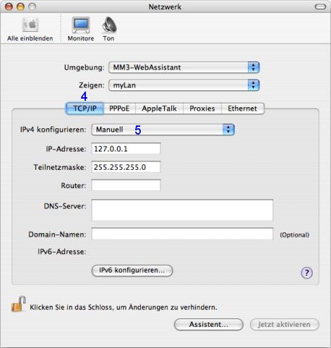 Mac OS X: Netzwerk / myLan / TCP/IP