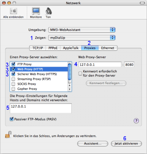 Mac OS X: Netzwerk / myDialUp / Proxies