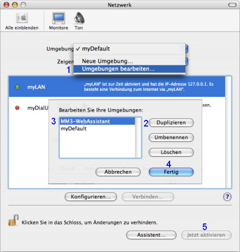 Mac OS X: Netzwerk / Umgebung