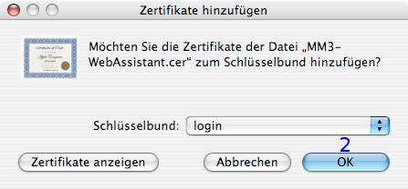 MacOSX: Zertifikat hinzufügen