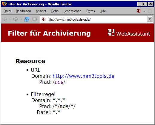 Test der Filterung /*/ads/*/