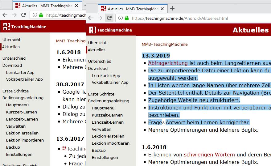 Zeigt die Homepage von MM3Tools vor und nach einer Veränderung an