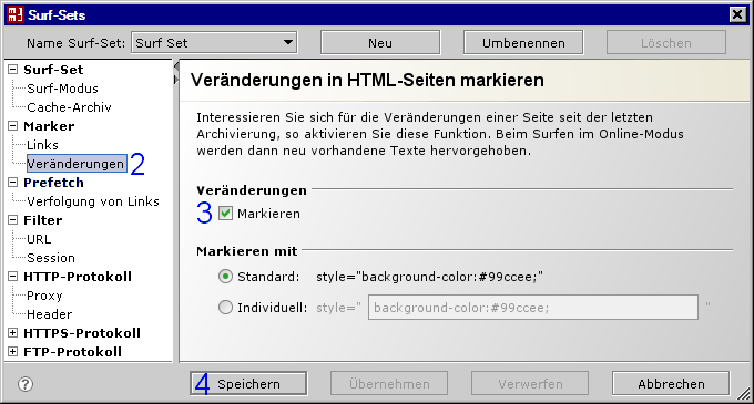 MM3-WebAssistant - Proxy Offline Browser: Dialog: Surf-Set / Marker / Veränderungen