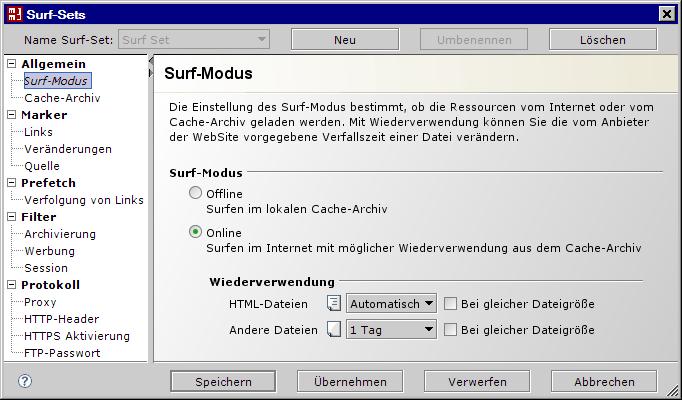 Surf-Set / Surf-Modus