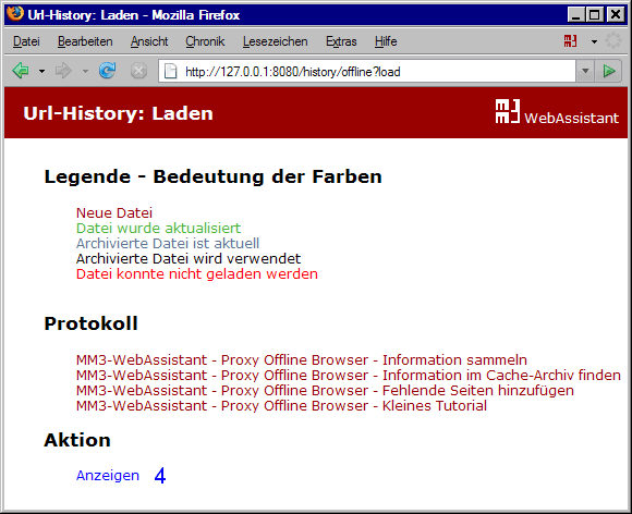 MM3-WebAssistant: URL-History: Laden