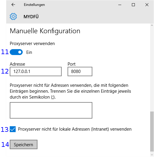 Windows: DFÜ Proxyeinstellungen
