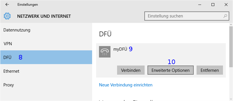 Windows: DFÜ Einstellungen