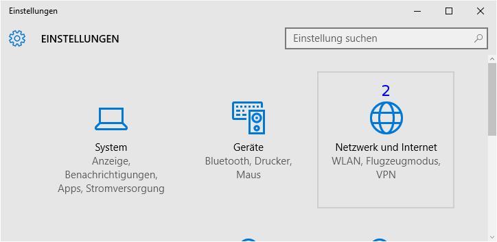 Windows: Einstellungen / Netzwerk und Internet