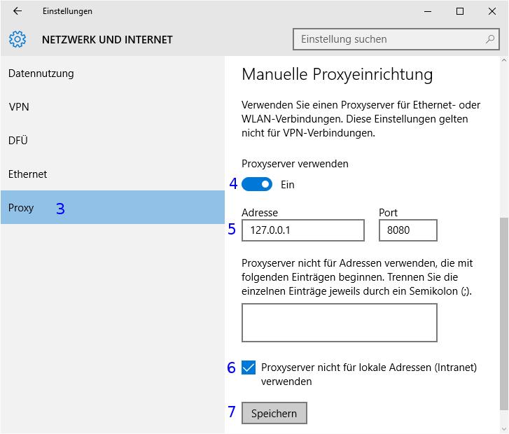 Windows: Netzwerk Proxyeinstellungen
