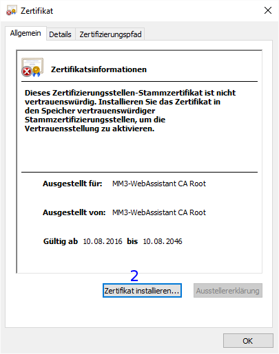 Windows: Zertifikat