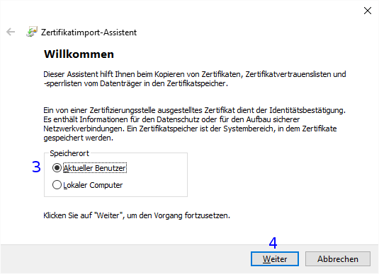 Windows: Zertifikatimport-Assistent