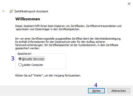 Windows: Zertifikatimport-Assistent