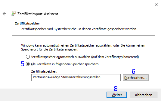 Windows: Zertifikatspeicher